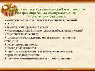 Формы и методы организации работы с текстом по формированию коммуникативной к