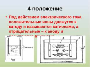 4 положение Под действием электрического тока положительные ионы движутся к к