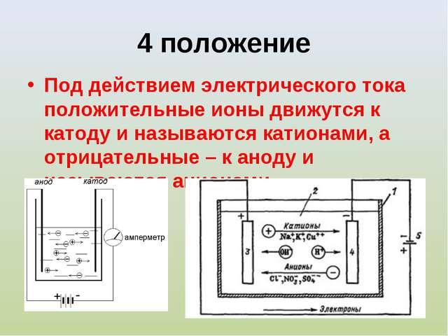 4 положение Под действием электрического тока положительные ионы движутся к к...
