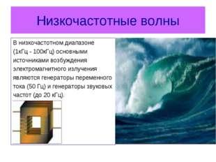 Низкочастотные волны В низкочастотном диапазоне (1кГц-100кГц) основными ист