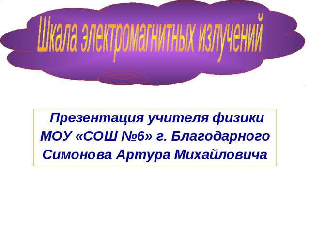 Презентация учителя физики МОУ «СОШ №6» г. Благодарного Симонова Артура Миха...