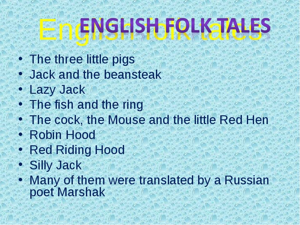 English folk tales The three little pigs Jack and the beansteak Lazy Jack The...