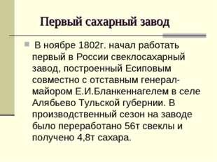 Первый сахарный завод В ноябре 1802г. начал работать первый в России свеклос