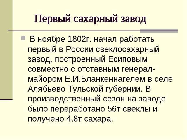 Первый сахарный завод В ноябре 1802г. начал работать первый в России свеклос...