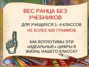 ВЕС РАНЦА БЕЗ УЧЕБНИКОВ ДЛЯ УЧАЩИХСЯ 1- 4 КЛАССОВ НЕ БОЛЕЕ 600 ГРАММОВ КАК ВО