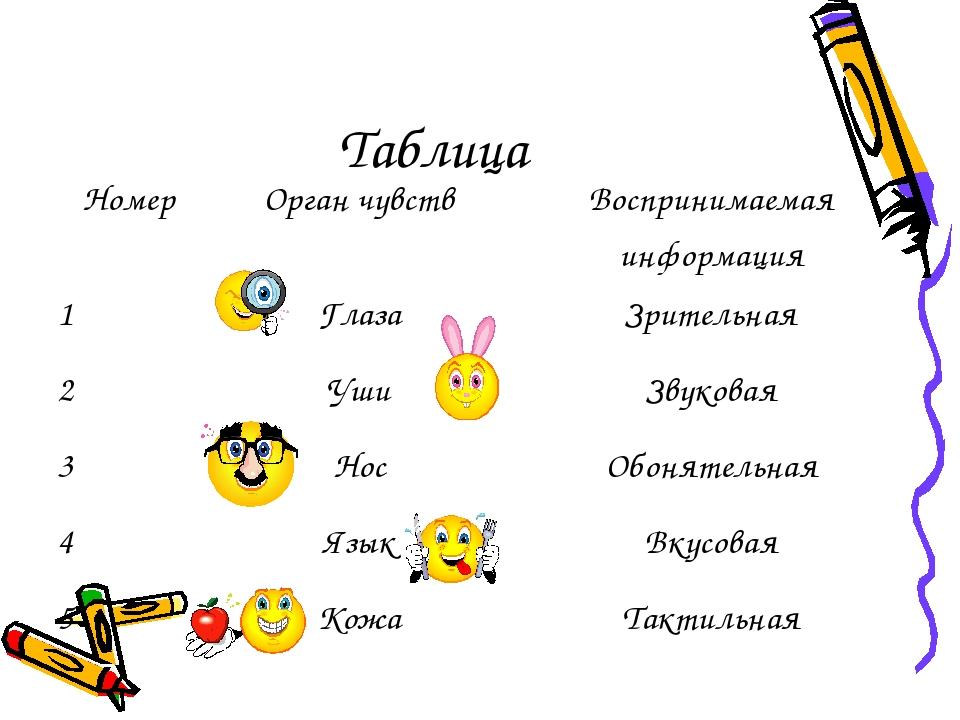 Таблица НомерОрган чувствВоспринимаемая информация 1ГлазаЗрительная 2Уши...