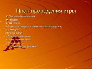 План проведения игры Вступительное слово учителя Конкурсы а) Убери лишнее. б)