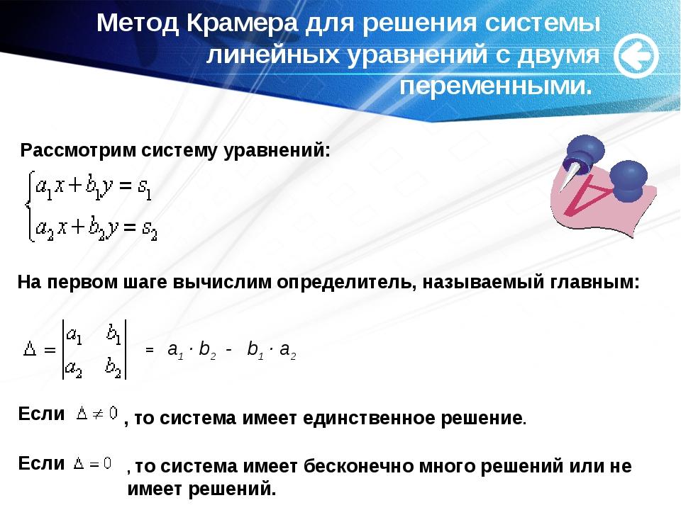 Метод Крамера для решения системы линейных уравнений с двумя переменными. Рас...
