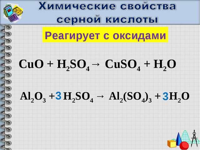Реагирует с оксидами CuO + H2SO4→ CuSO4 + H2O Al2O3 + H2SO4 → Al2(SO4)3 + H2O...