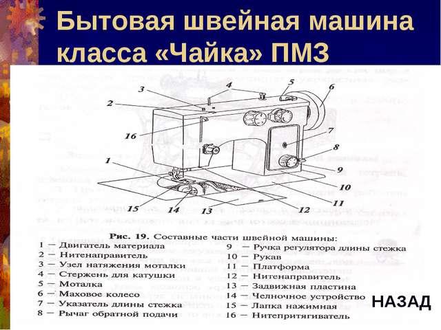 Бытовая швейная машина класса «Чайка» ПМЗ НАЗАД