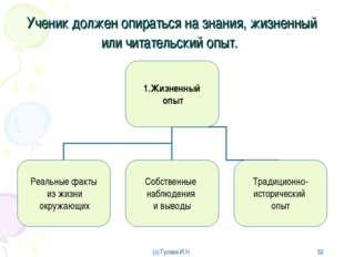 Ученик должен опираться на знания, жизненный или читательский опыт. (с) Гусев