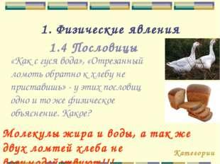 1. Физические явления 1.4 Пословицы «Как с гуся вода», «Отрезанный ломоть обр