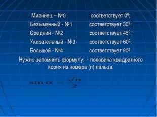Мизинец – №0 соответствует 0º; Безымянный - №1 соответствует 30º; Средний - №