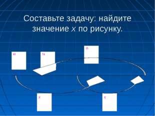 Составьте задачу: найдите значение х по рисунку.
