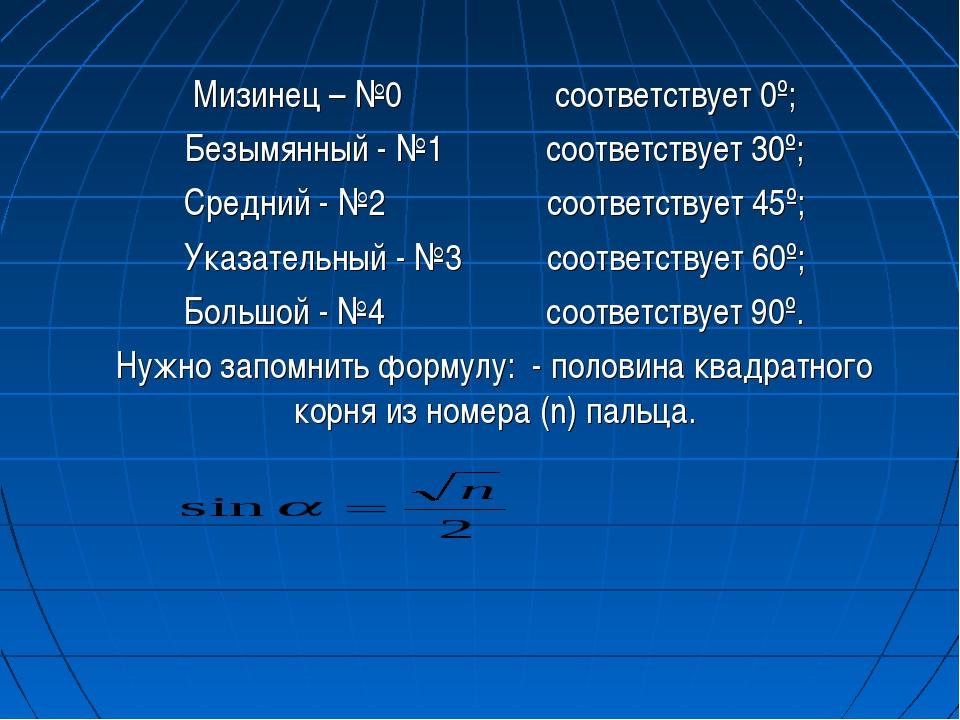 Мизинец – №0 соответствует 0º; Безымянный - №1 соответствует 30º; Средний - №...