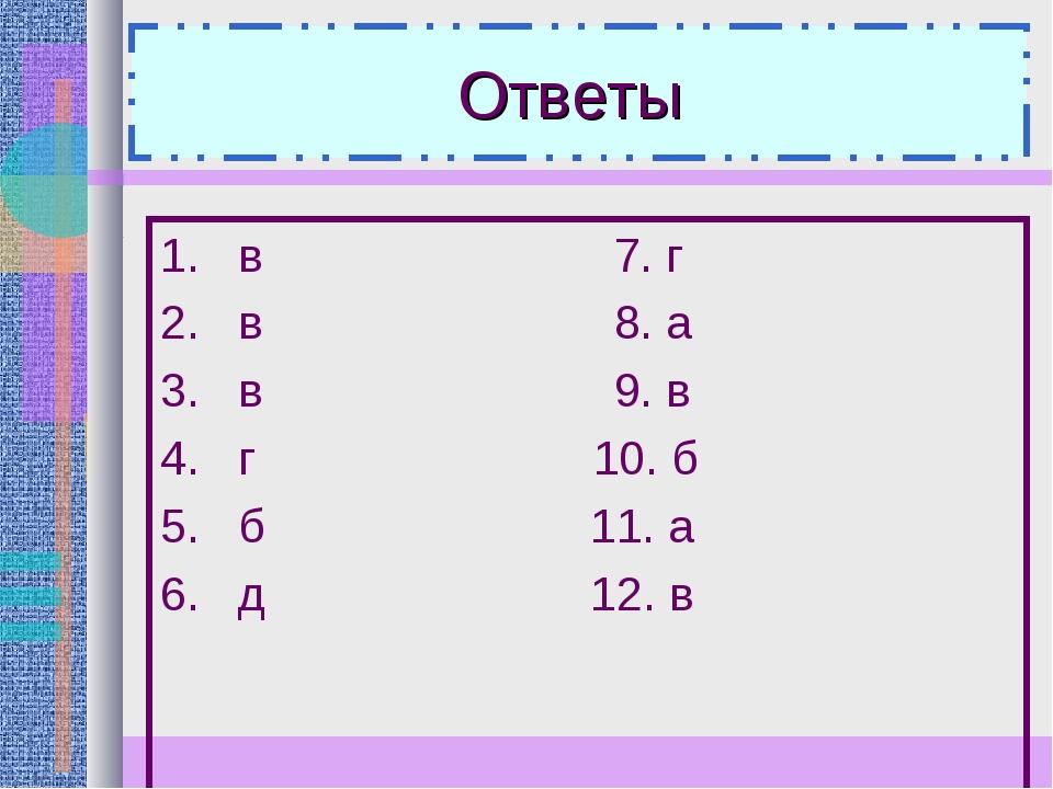 Ответы 1. в 7. г 2. в 8. а 3. в 9. в 4. г 10. б 5. б 11. а 6. д 12. в