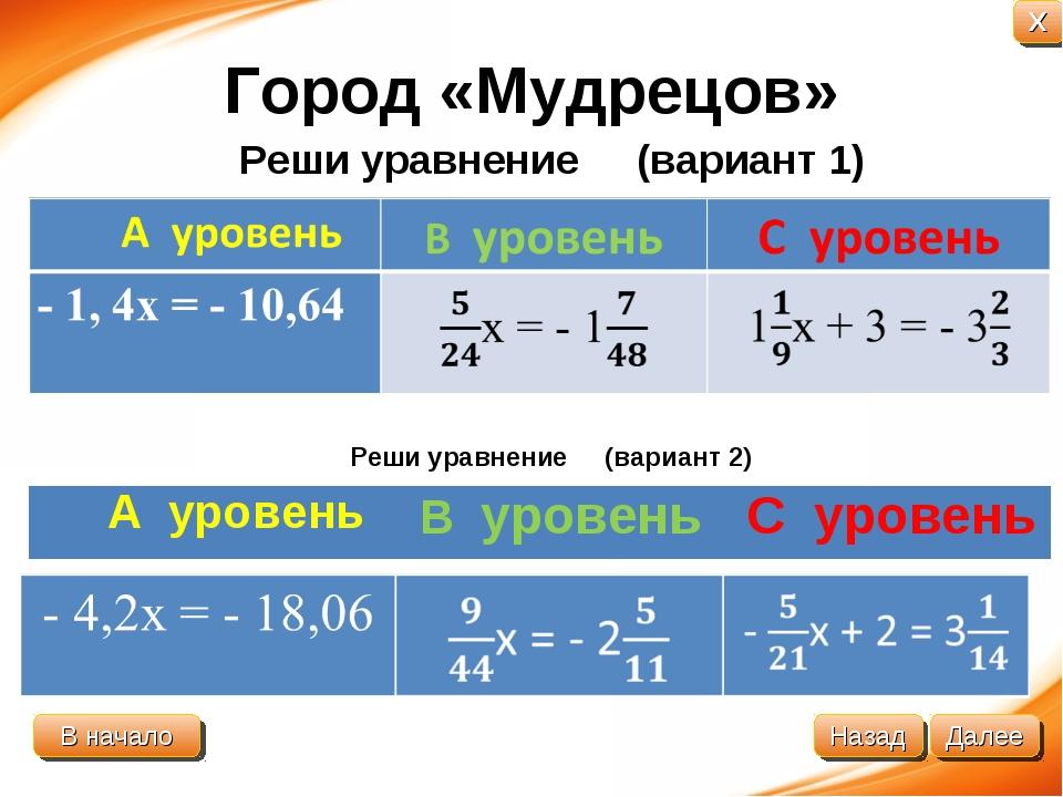 Город «Мудрецов» Реши уравнение (вариант 1) Реши уравнение (вариант 2) А уров...