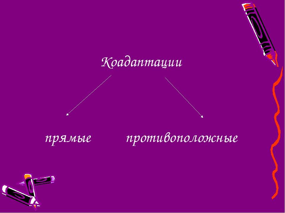 Коадаптации прямые противоположные