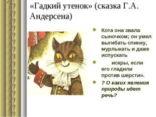 «Гадкий утенок» (сказка Г.А. Андерсена) Кота она звала сыночком; он умел выги