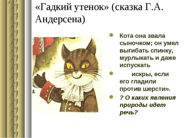 «Гадкий утенок» (сказка Г.А. Андерсена) Кота она звала сыночком; он умел выги...