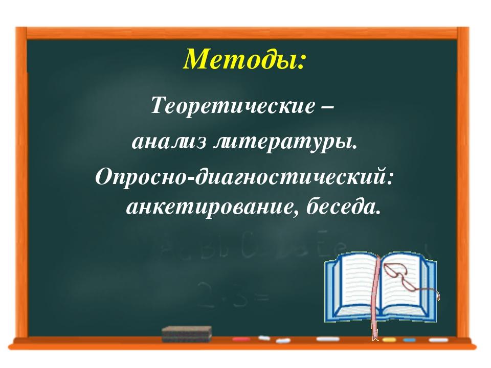 Методы: Теоретические – анализ литературы. Опросно-диагностический: анкетиров...