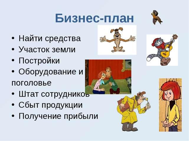 Бизнес-план Найти средства Участок земли Постройки Оборудование и поголовье Ш...