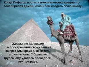 Когда Пифагор постиг науку египетских жрецов, то засобирался домой, чтобы там
