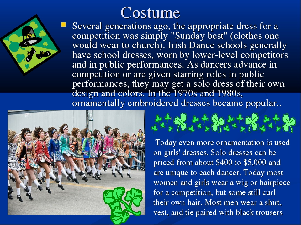 Costume Several generations ago, the appropriate dress for a competition was...
