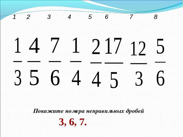 Покажите номера неправильных дробей 3, 6, 7. 12345678