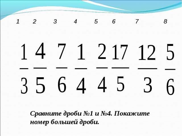 Сравните дроби №1 и №4. Покажите номер большей дроби. 12345678