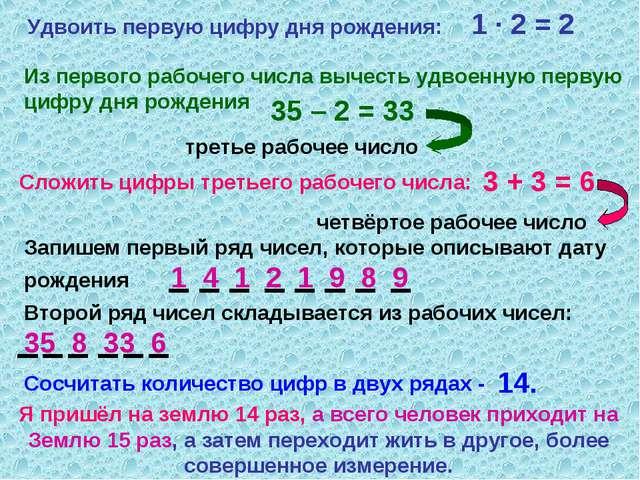 Удвоить первую цифру дня рождения: 1 · 2 = 2 Из первого рабочего числа вычест...