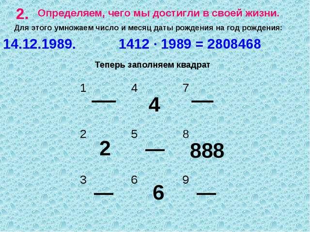 2. Определяем, чего мы достигли в своей жизни. Для этого умножаем число и мес...