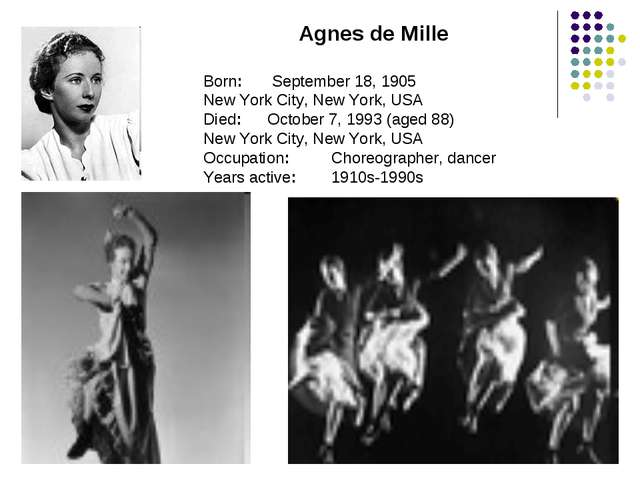 Agnes de Mille Born:	 September 18, 1905 New York City, New York, USA Died:	O...