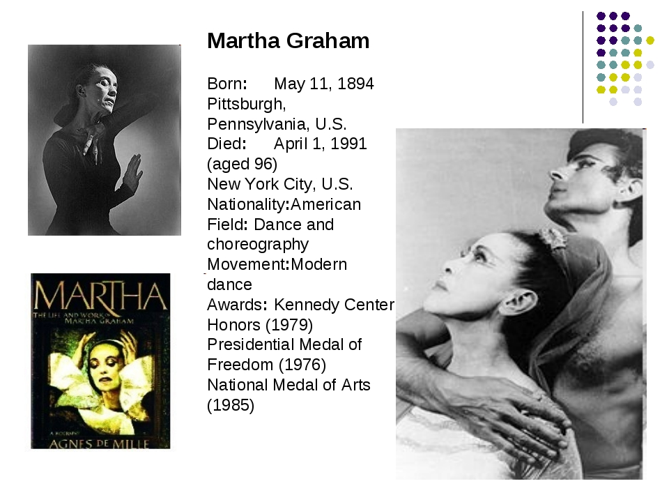 Martha Graham Born:	May 11, 1894 Pittsburgh, Pennsylvania, U.S. Died:	April 1...