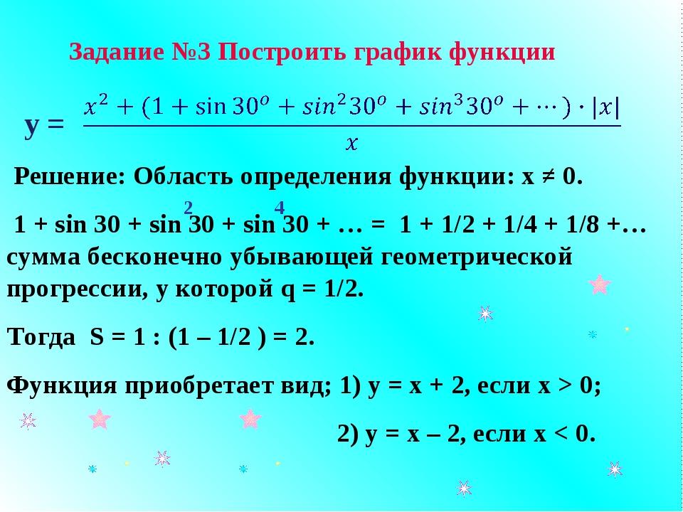 у = Решение: Область определения функции: х ≠ 0. 1 + sin 30 + sin 30 + sin 30...