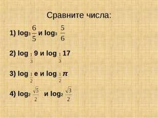 Сравните числа: 1) log3 и log3 2) log 9 и log 17 3) log е и log π 4) log2 и l
