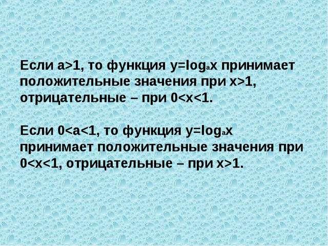 Если а>1, то функция y=logax принимает положительные значения при х>1, отрица...
