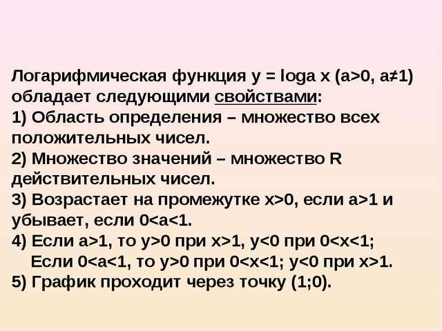 Логарифмическая функция y = loga x (а>0, а≠1) обладает следующими свойствами:...