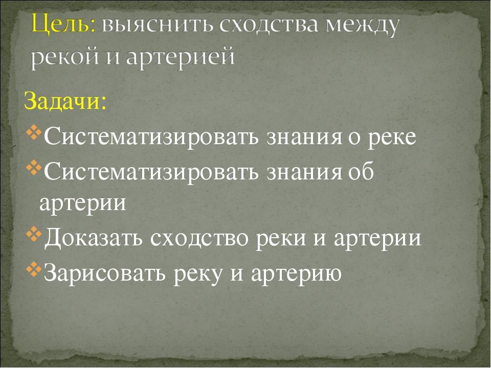 Задачи: Систематизировать знания о реке Систематизировать знания об артерии Д...