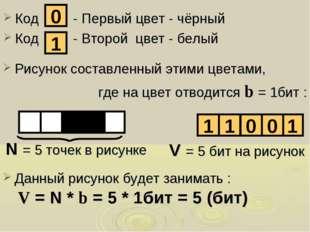 Код - Первый цвет - чёрный Код - Второй цвет - белый 0 1 Рисунок составленный