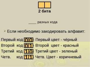 Первый код - Первый цвет - чёрный Второй код - Второй цвет - красный Третий к