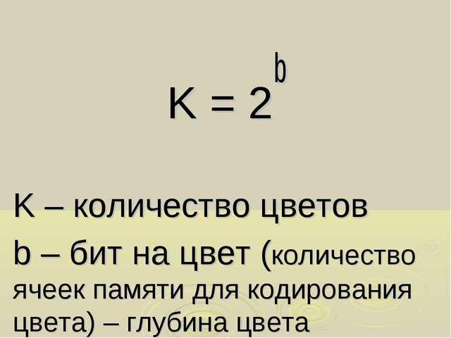 K = 2b K – количество цветов b – бит на цвет (количество ячеек памяти для код...
