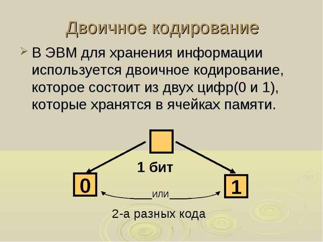 Двоичное кодирование В ЭВМ для хранения информации используется двоичное коди...