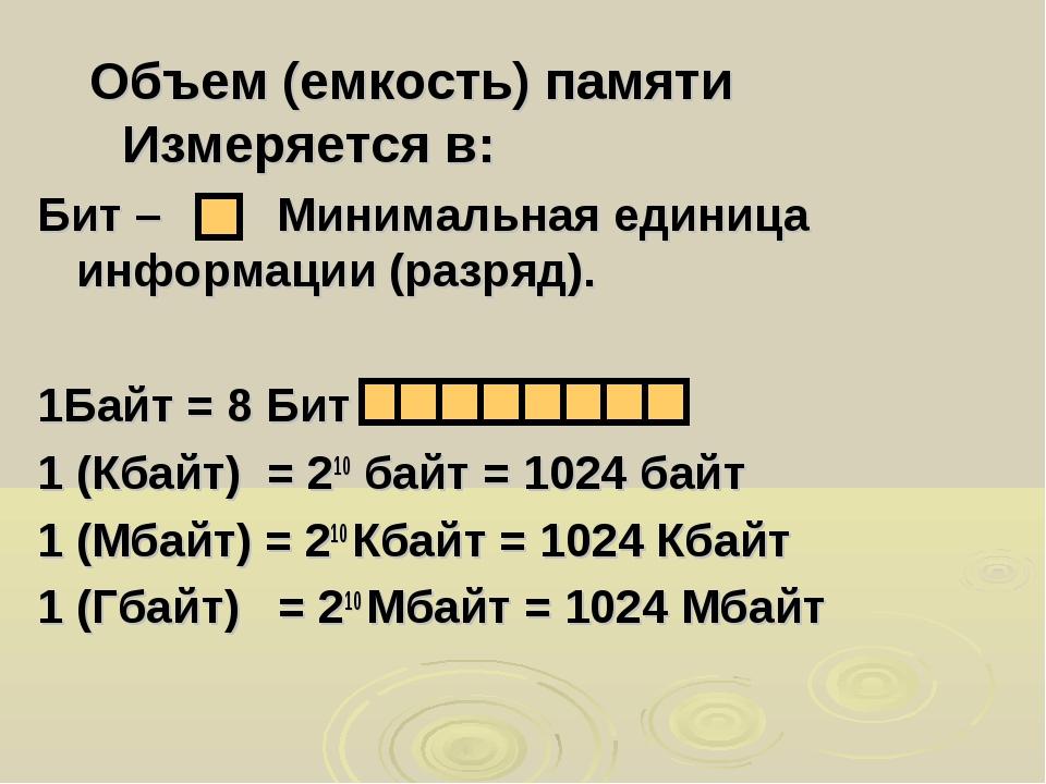 Объем (емкость) памяти Измеряется в: Бит – Минимальная единица информации (ра...