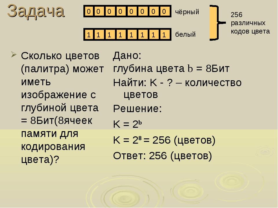 Сколько цветов (палитра) может иметь изображение с глубиной цвета = 8Бит(8яче...