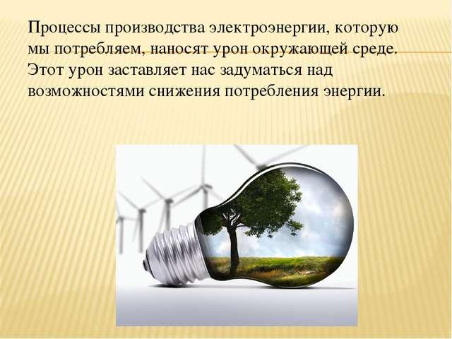 Процессы производства электроэнергии, которую мы потребляем, наносят урон окр...