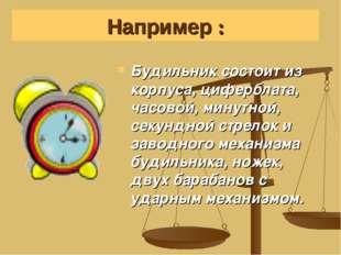 Будильник состоит из корпуса, циферблата, часовой, минутной, секундной стрело