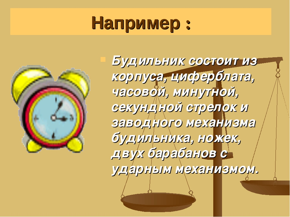 Будильник состоит из корпуса, циферблата, часовой, минутной, секундной стрело...