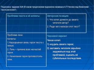 Подсказка: задание А28 (В каком предложении выражена насмешка А.П.Чехова над