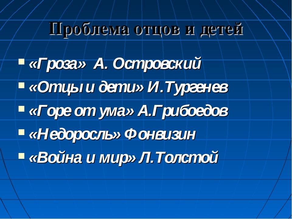 Проблема отцов и детей «Гроза» А. Островский «Отцы и дети» И.Тургенев «Горе о...